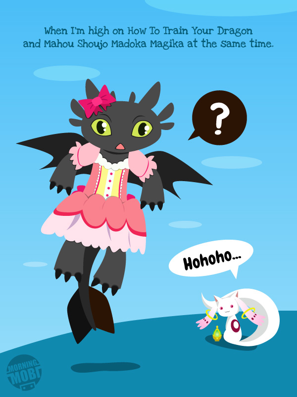 When Toothless meets Kyuubey - MorningMobi.com