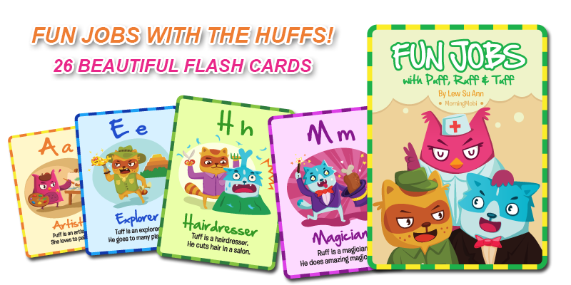 Fun Jobs with The Huffs Flash Card for kid's learning