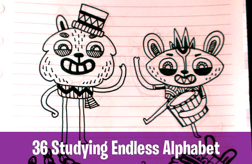 36 Studying Endless Alphabet monsters