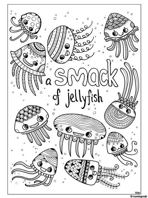 Jellyfish Animal Coloring Pages. Animals with Pattern Colouring Book  giveaway Fun for You eBook Giveaway MorningMobi