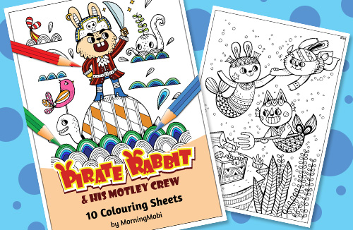 Pirate Rabbit Fun Colouring in PDF