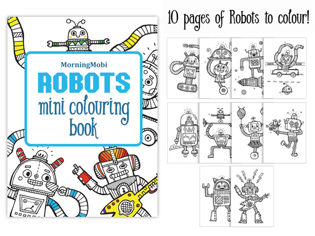 Robots mini colouring in book