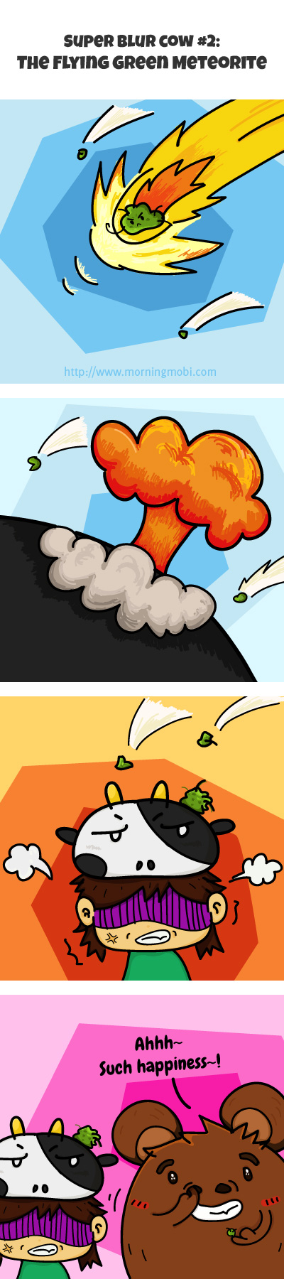 Super Blur Cow The Flying Green Meteorite - MorningMobi Web Comics