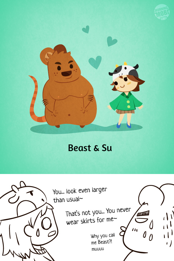 Beauty and Beast Super Blur Cow - MorningMobi Character Design