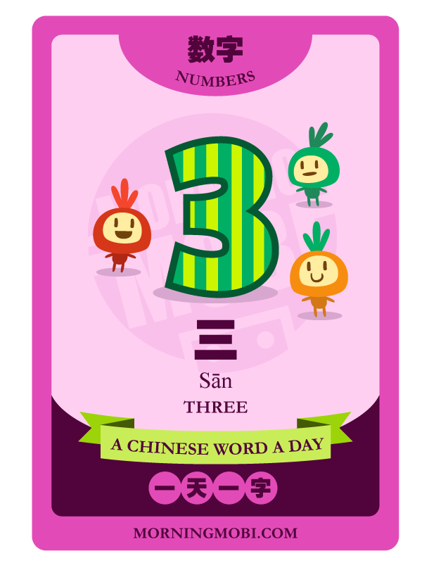 A Chinese Word A Day 三 Three
