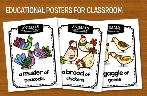 Educational Poster Printable Collective Nouns