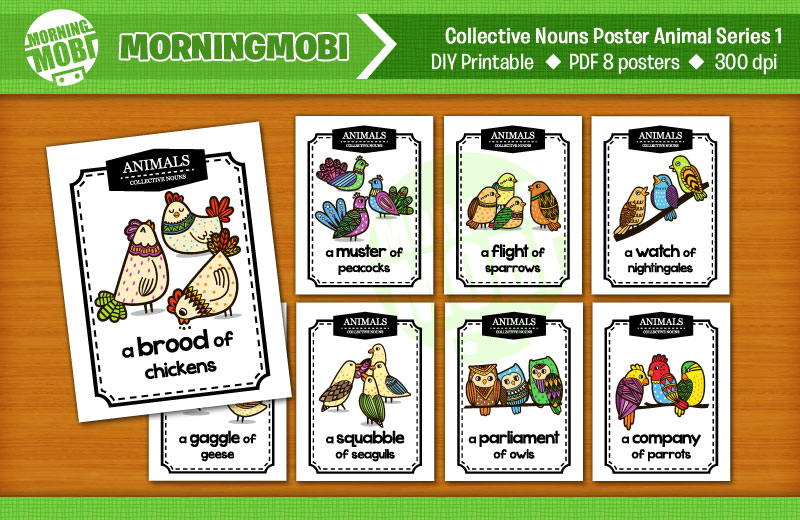 Educational Poster Printable Collective Nouns