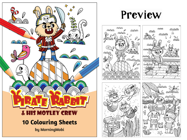 Pirate Rabbit Fun Colouring in PDF