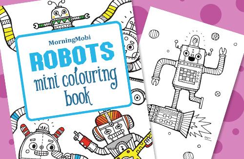 Robots mini colouring in book